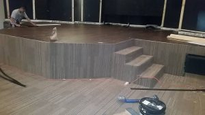 Carpet installation of stage | Shans Carpets And Fine Flooring Inc