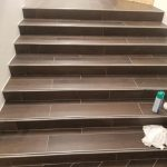 Tile on stairs | Shans Carpets And Fine Flooring Inc