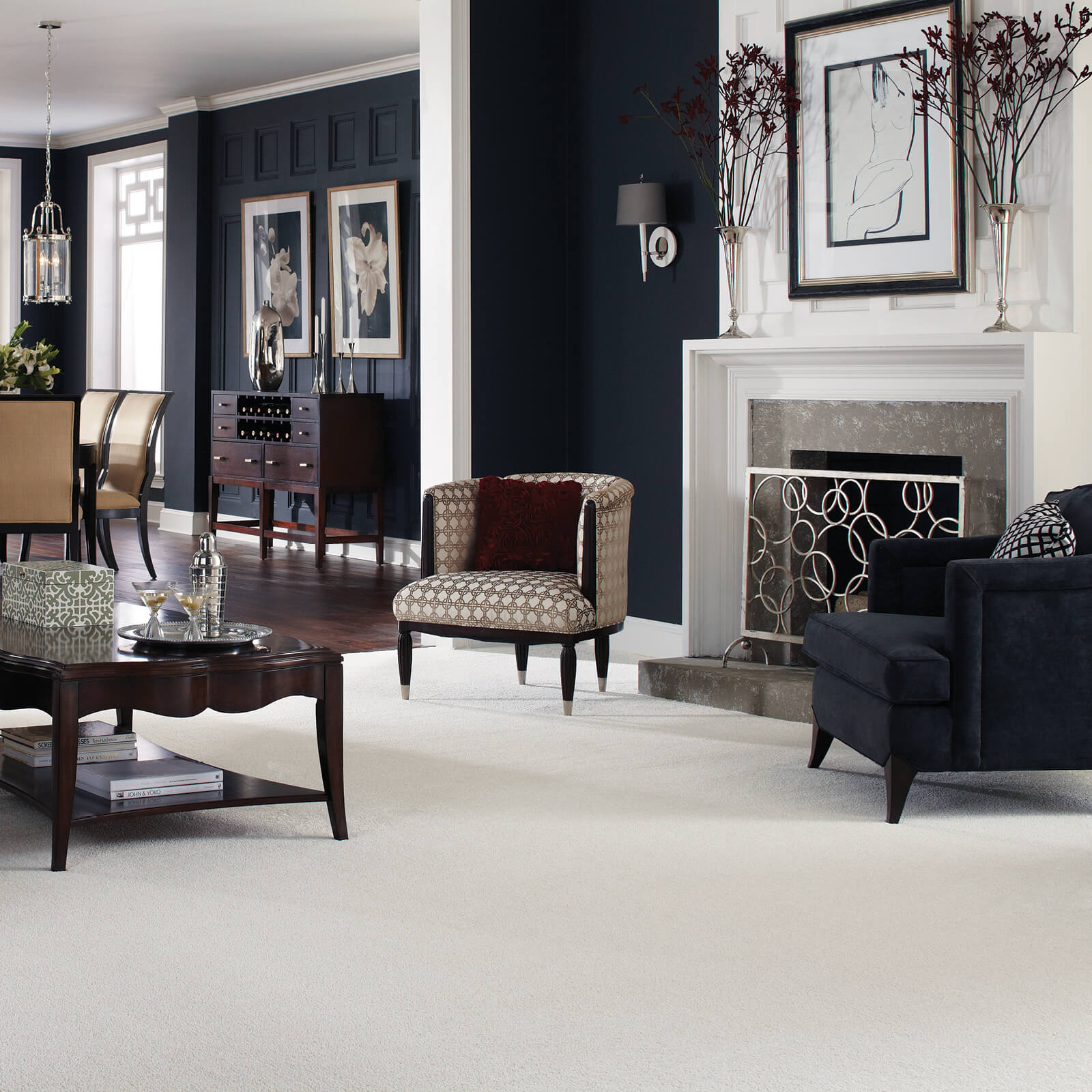 White Carpet in living room | Shans Carpets And Fine Flooring Inc