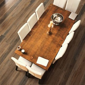 Dining table on Luxury Vinyl flooring | Shans Carpets And Fine Flooring Inc