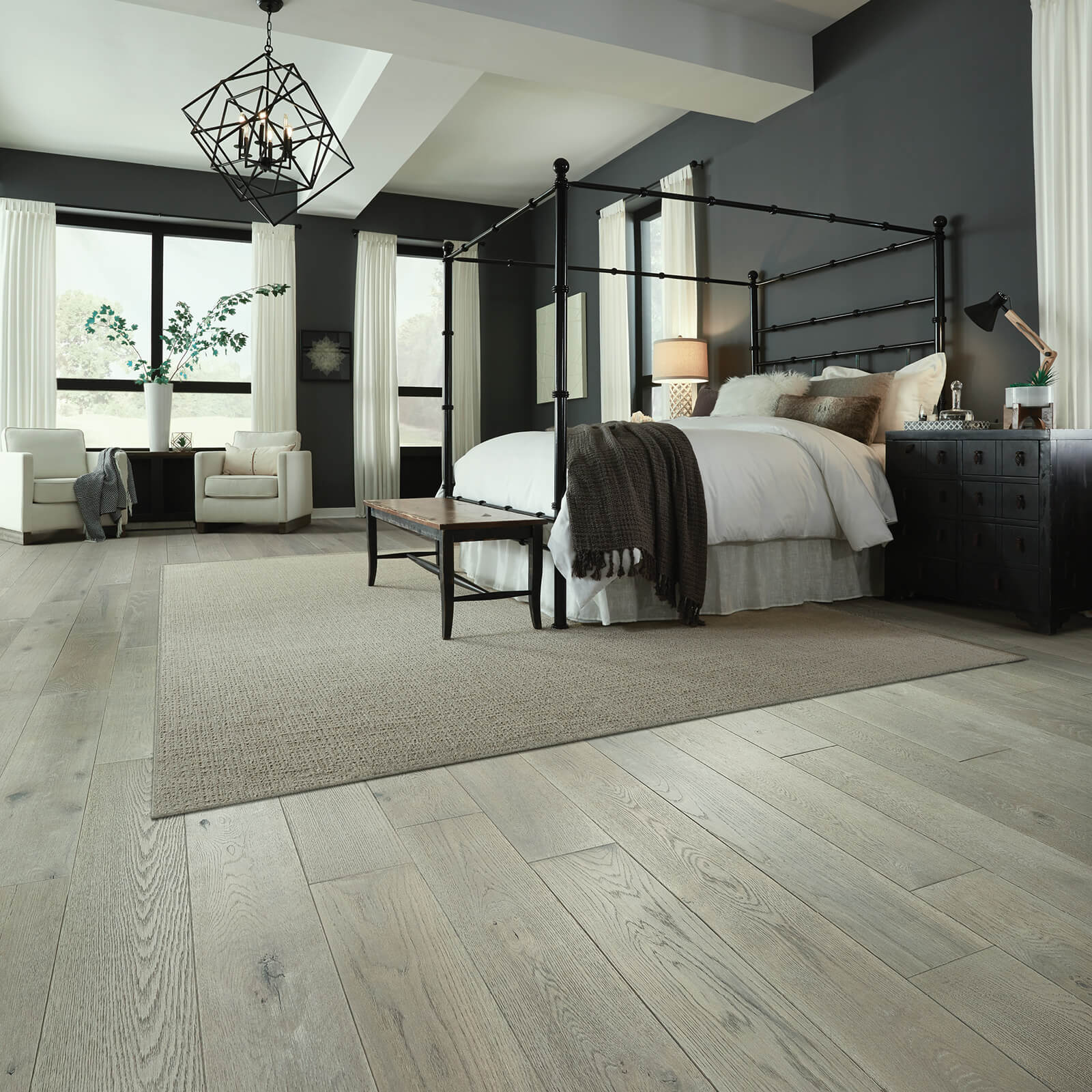 Hardwood flooring of bedroom | Shans Carpets And Fine Flooring Inc