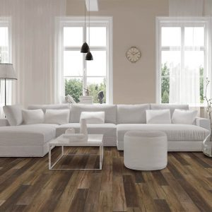 White sofaset on Luxury Vinyl flooring | Shans Carpets And Fine Flooring Inc