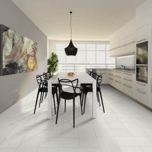 Dining table on Tile floooring | Shans Carpets And Fine Flooring Inc