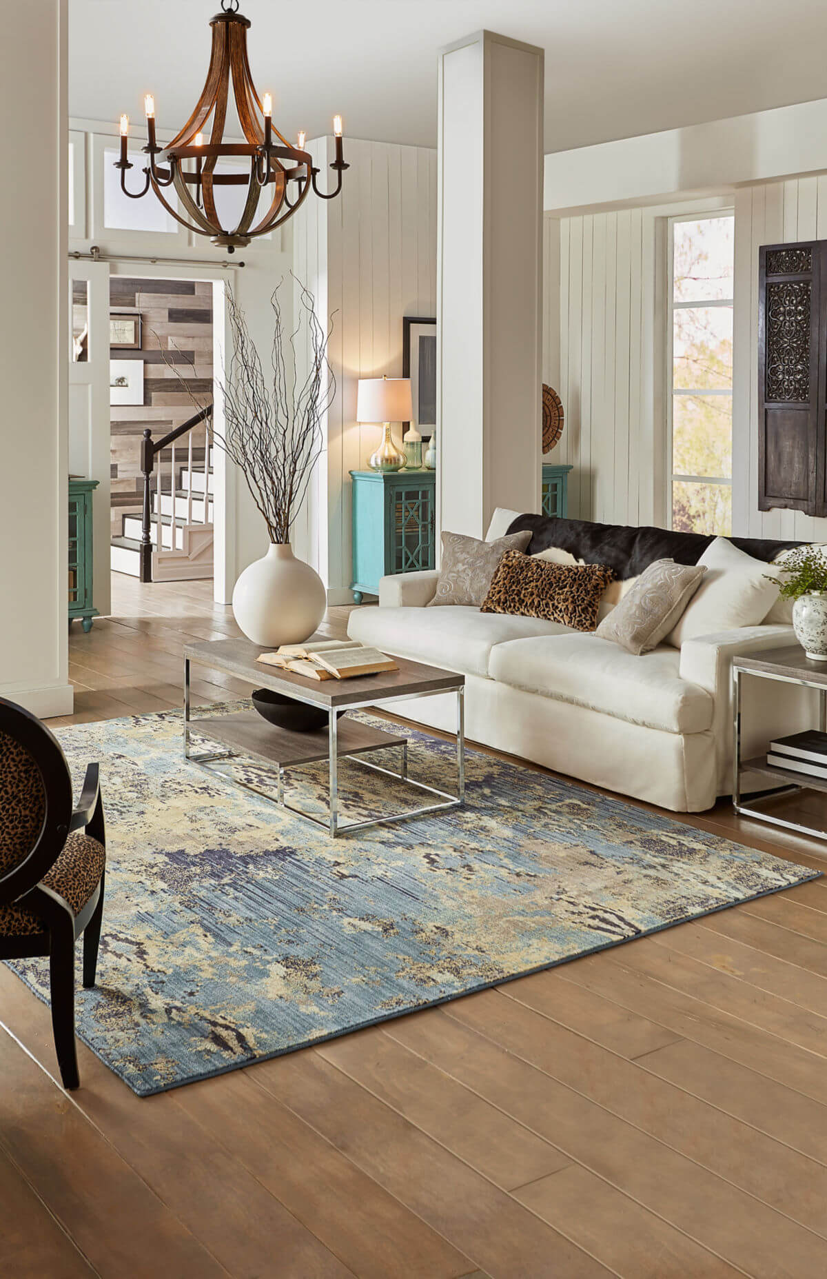 Aera Rug in living room | Shans Carpets And Fine Flooring Inc