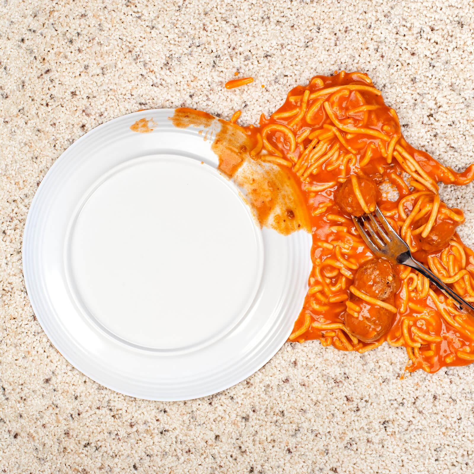 Spilled spaghetti on Carpet | Shans Carpets And Fine Flooring Inc